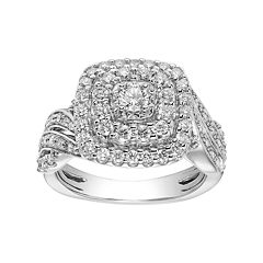 Lovemark 10k White Gold 1 Carat T.W. Diamond Cushion Tiered Halo Engagement Ring