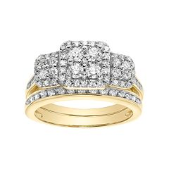 Lovemark 10k Gold 7/8 Carat T.W. Square Cluster Engagement Ring Set