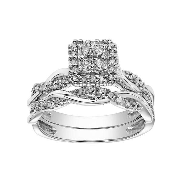Lovemark 10k White Gold 1 3 Carat T W Diamond Square Cluster Engagement Ring Set