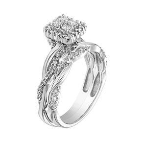 Lovemark 10k White Gold 1/3 Carat T.W. Diamond Square Cluster Engagement Ring Set