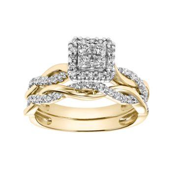 Lovemark 10k Gold 1/3 Carat T.W. Diamond Square Engagement Ring Set