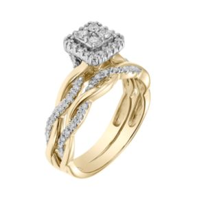 Lovemark 10k Gold 1/3 Carat T.W. Diamond Square Engagement Ring Set