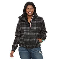 Juniors' Plus Size Urban Republic Hooded Puffer Bomber Jacket