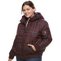 Juniors' Plus Size Urban Republic Hooded Puffer Bomber Jacket
