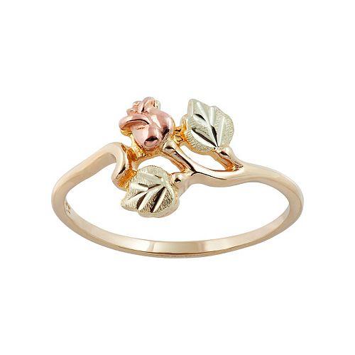 Black Hills Gold Tri Tone Rose Ring