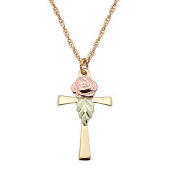 Black hills gold tri tone rose cross pendant necklace aloadofball Images