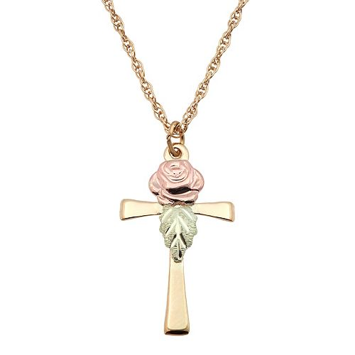 Black hills gold tri tone rose cross pendant necklace aloadofball Image collections