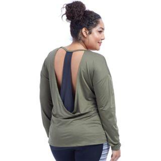 Plus Size Marika Shift Open Back Long Sleeve Top
