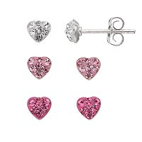 Charming Girl Kids' Sterling Silver Crystal Heart Stud Earring Set