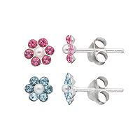 Charming Girl Kids' Sterling Silver Crystal Flower Stud Earring Set