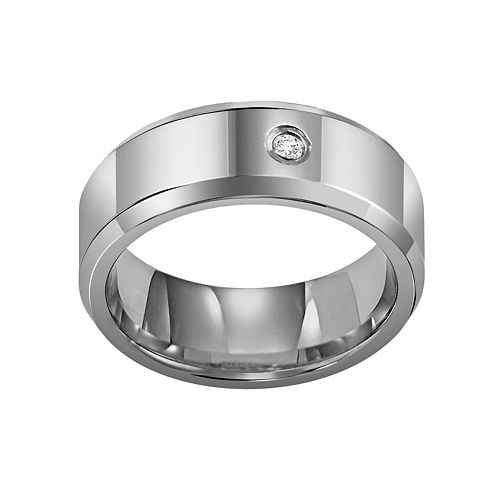 Lovemark Tungsten Carbide Diamond Accent Men's Wedding Band