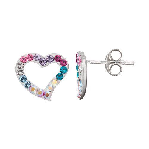 Charming Girl Kids' Sterling Silver Crystal Heart Stud Earrings