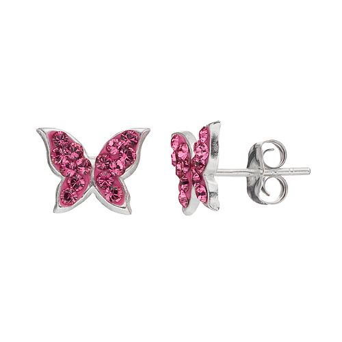 Charming Girl Kids' Sterling Silver Crystal Butterfly Stud Earrings