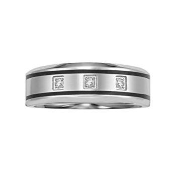 Lovemark Stainless Steel Diamond Accent Men's Wedding Band