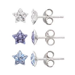 Charming Girl Kids' Sterling Silver Crystal Star Stud Earring Set