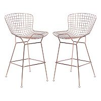Zuo Modern Rose Gold Finish Bar Stool 2 pc Set