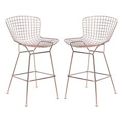 Zuo Modern Rose Gold Finish Bar Stool 2-piece Set