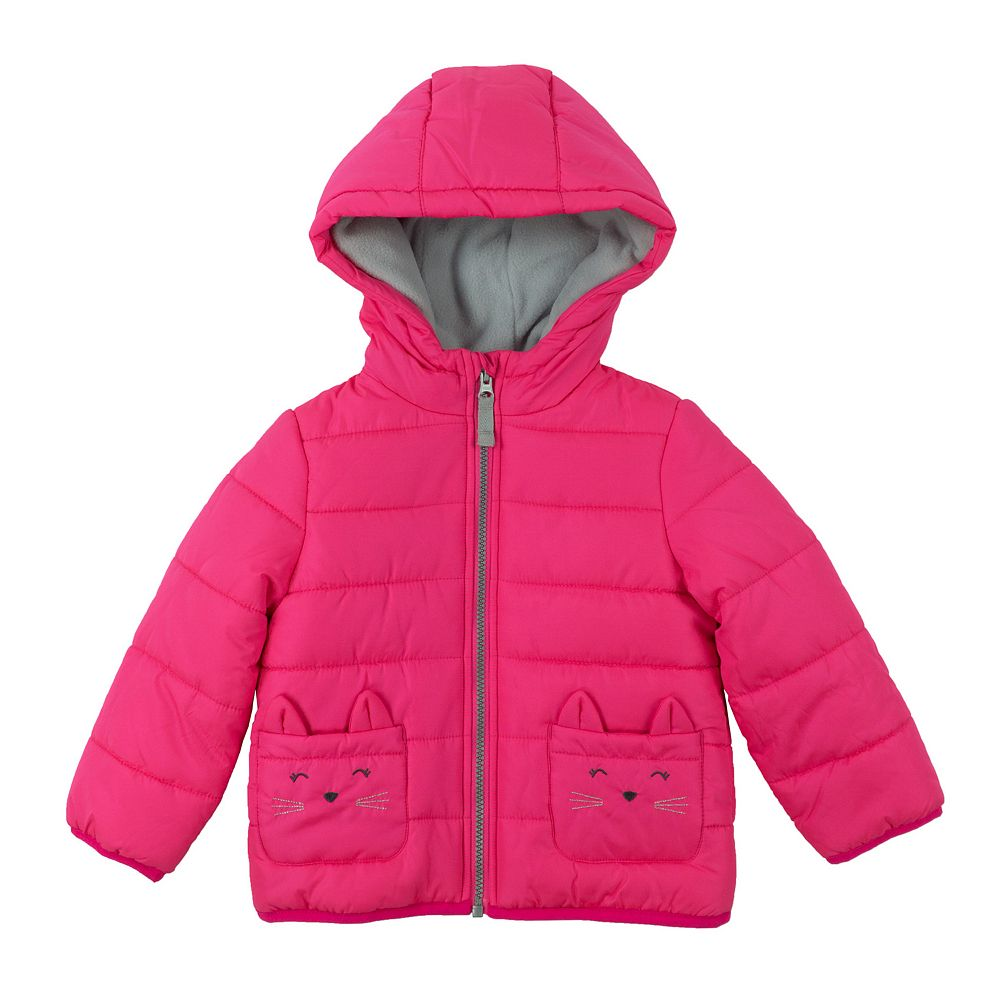 Girl Carter's Heavyweight Kitty Cat Puffer Jacket