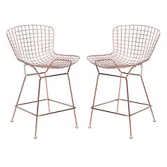Zuo Modern Rose Gold Finish Counter Stool 2-piece Set