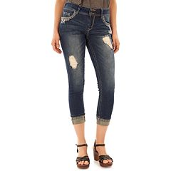 Juniors' Wallflower Luscious Curvy Ripped Crop Jeans