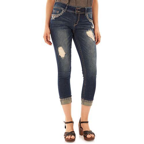 Juniors' Wallflower Luscious Curvy Ripped Crop Jeans