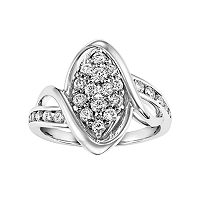 Lovemark Certified Diamond Marquise Bypass Engagement Ring in 10k White Gold (3/4 Carat T.W.)
