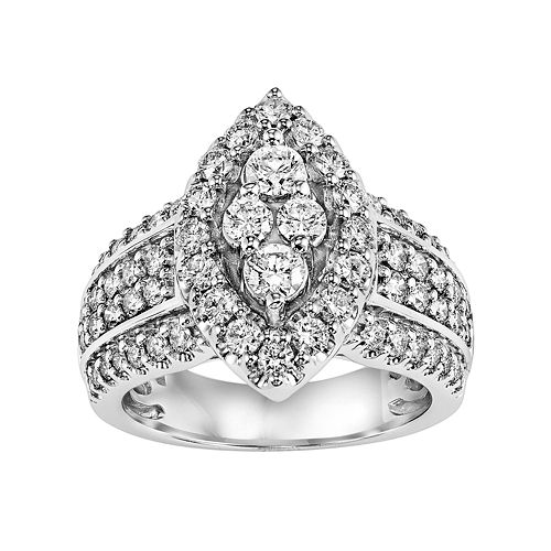 Lovemark Certified Diamond Halo Marquise Engagement Ring in 10k White Gold (1 1/2 Carat T.W.)