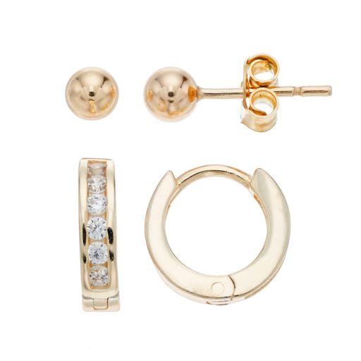 Charming Girl Kids' 14k Gold Over Silver Huggie Hoop & Ball Stud Earrings