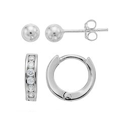 Charming Girl Kids' Crystal Huggie Hoop & Ball Stud Earrings