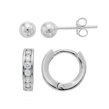 Charming Girl Kids' Crystal Huggie Hoop & Ball Stud Earrings