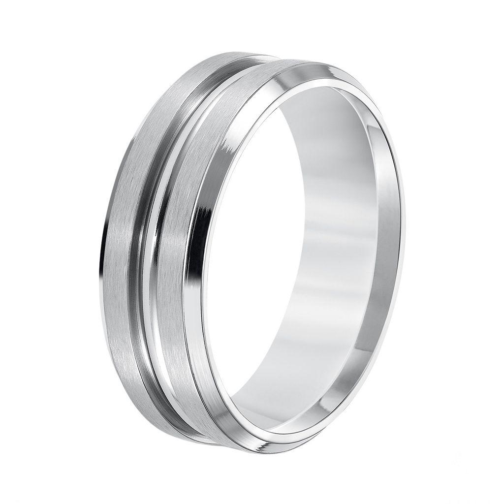 Lovemark Stainless Steel Groove Men's Wedding Band