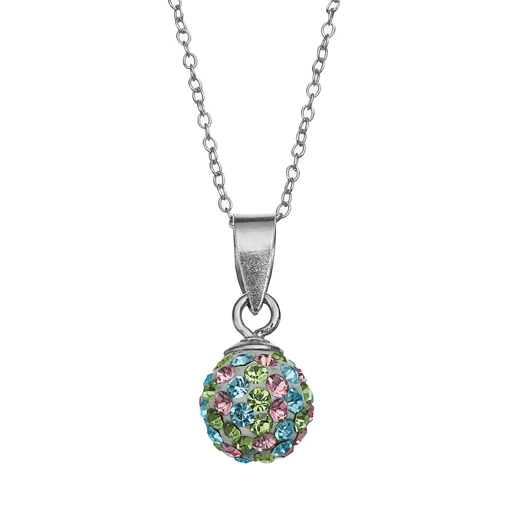 Charming girl kids sterling silver crystal ball pendant necklace aloadofball Images