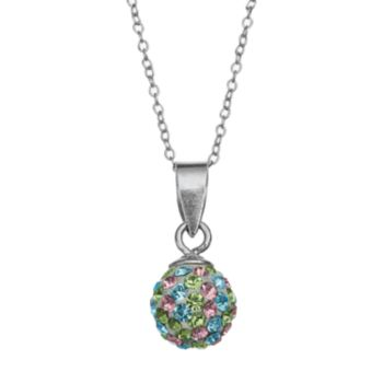 Charming Girl Kids' Sterling Silver Crystal Ball Pendant Necklace