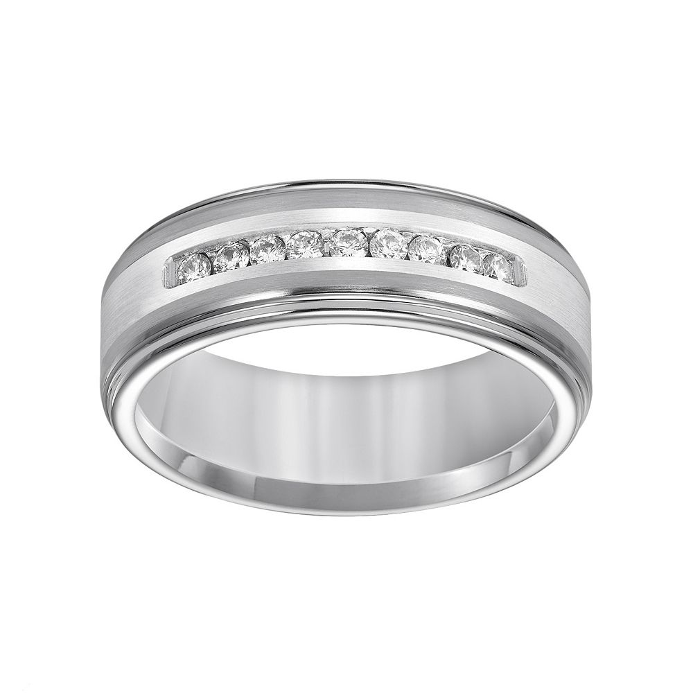 Lovemark Tungsten And Sterling Silver 1 4 Ct TW Diamond Mens Wedding Band