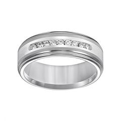 Lovemark Tungsten and Sterling Silver 1/4 ctT.W. Diamond Men's Wedding Band