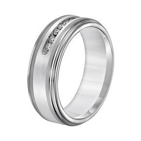 Lovemark Tungsten and Sterling Silver 1/4-ct. T.W. Diamond Men's Wedding Band