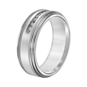 Lovemark Tungsten and Sterling Silver 1/4-ct. T.W. Diamond Men's Wedding Band