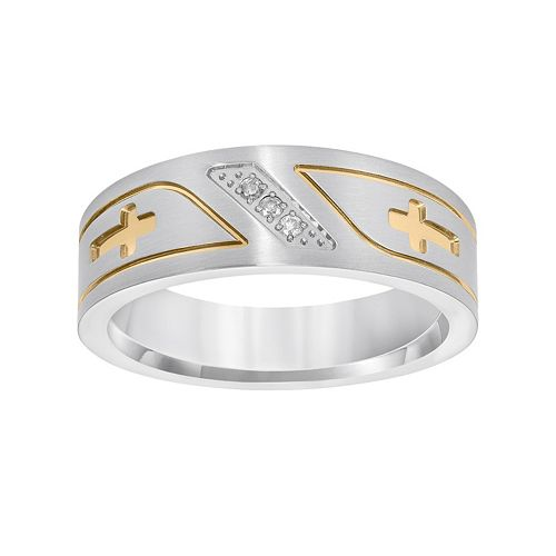 Lovemark Yellow Ion-Plated Stainless Steel and Stainless Steel Diamond Accent Men's Sideways Cross Band