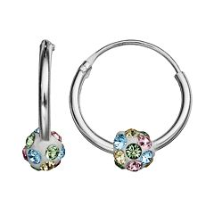 Charming Girl Kids' Sterling Silver Crystal Ball Hoop Earrings
