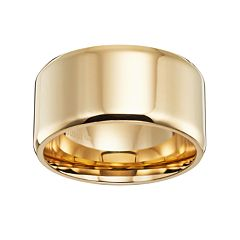 Lovemark 14k Gold-Over-Stainless Steel Men's Wedding Band
