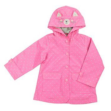 Baby Girl Carter's Cat Polka-Dot Rain Jacket