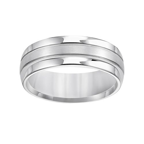 Lovemark White Tungsten Groove Men's Wedding Band