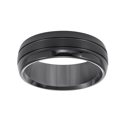Lovemark Black Tungsten Groove Men's Wedding Band