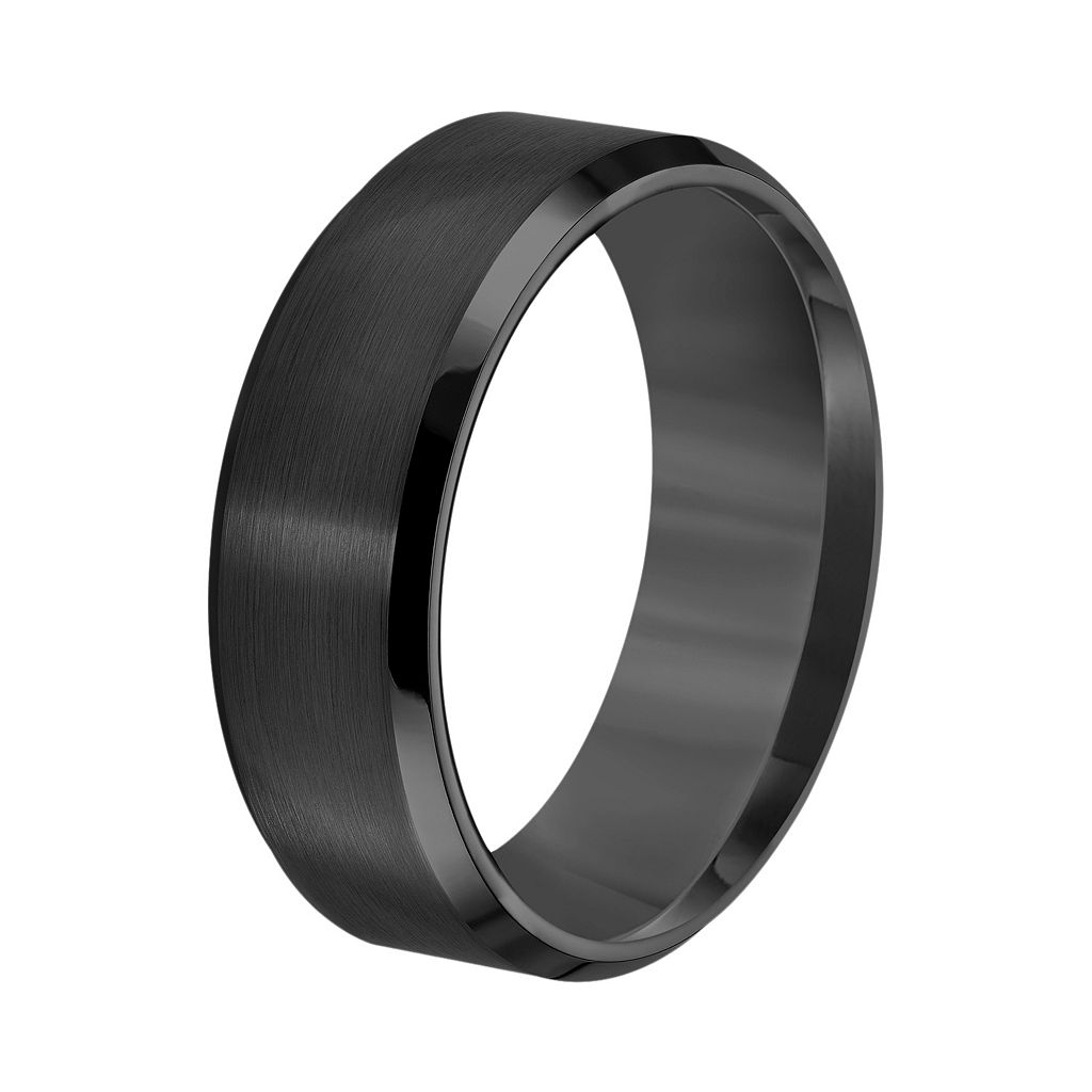 Lovemark Black Ion-Plated Tungsten Beveled Men's Wedding Band