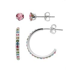 Charming Girl Kids' Crystal Semi-Hoop & Stud Earring Set