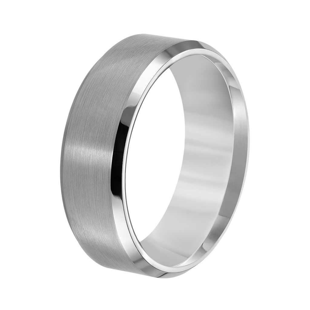 Lovemark Tungsten Beveled Men's Wedding Band