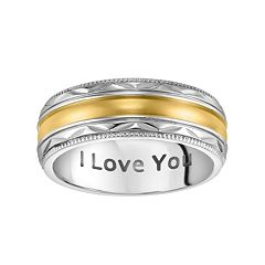 Lovemark Stainless Steel Two Tone I Love You Men's Wedding Band