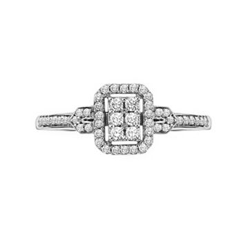 Lovemark Round-Cut Diamond Frame Engagement Ring in 10k White Gold (1/4 ct. T.W.)