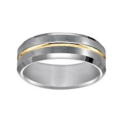 Lovemark Tungsten Carbide and Yellow Ion-Plated Tungsten Carbide Men's Wedding Band