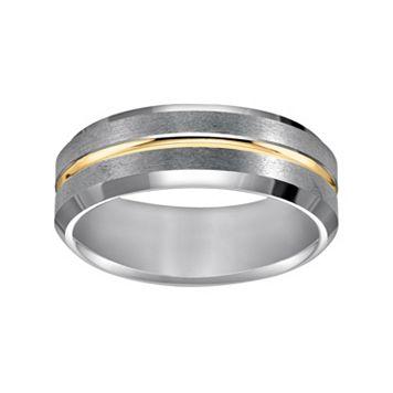 Lovemark Tungsten Carbide and Yellow Ion-Plated Tungsten Carbide Men's Wedding Band